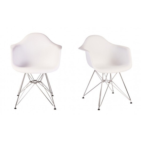 Contemporary Retro Molded Eames Style White Accent Plastic Dining Armchair with Steel Eiffel Legs (Set of 2)