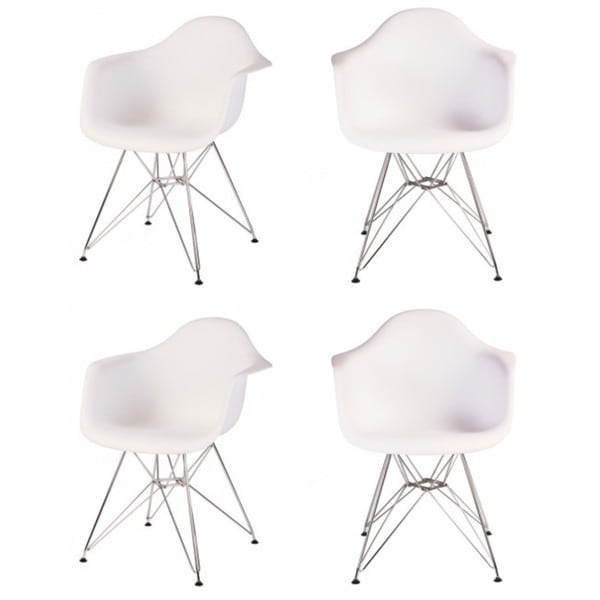Contemporary Retro Molded Eames Style White Accent Plastic Dining Armchair with Steel Eiffel Legs (Set of 4)