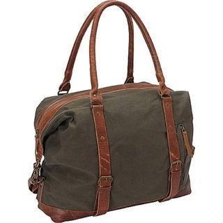Sharo Green Canvas and Brown Leather Carry-on Bag Tote Bag