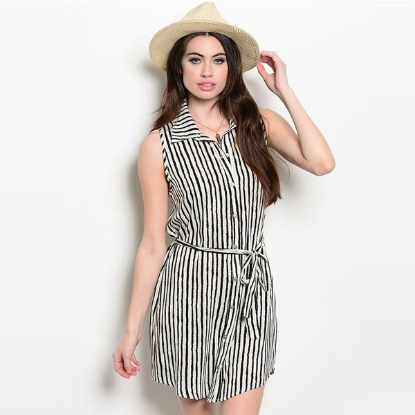 Shop The Trends Women's Sleeveless Allover Nautical Inspired Striped Print Shirt Dress