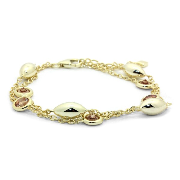 Gioelli Yellow Goldplated Sterling Silver Beaded Citrine Bracelet