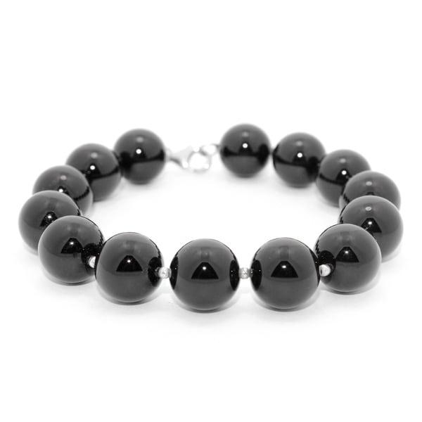 Gioelli Sterling Silver Round Smooth Black Onyx Shiny Beads Bracelet