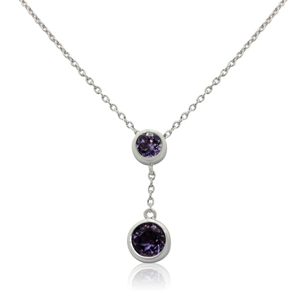 Gioelli Sterling Silver Round-cut Double Pendant Amethyst Pendant Necklace
