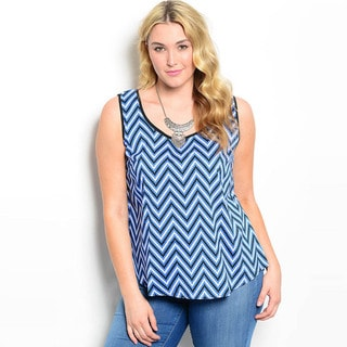 Shop The Trends Women's Plus Size Sleeveless Chevron Print Scoop Back Tank