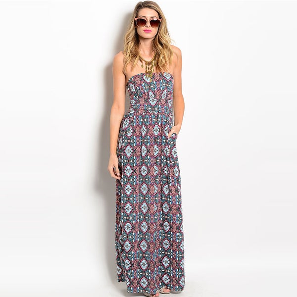 Shop The Trends Women's Strapless Allover Floral Tapestry Print Maxi Dress