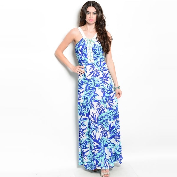 Shop The Trends Women's Sleeveless Lace-Up Placket And Tropical Print Maxi Dress