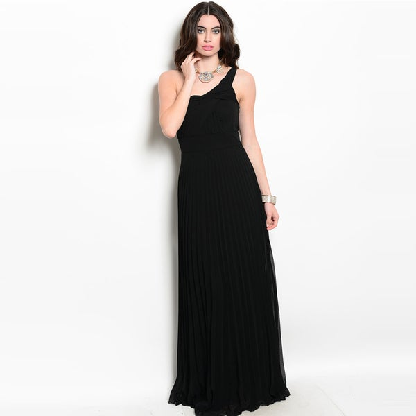 Shop The Trends Women's Sleeveless One-Shoulder Goddess Strap And Pleated Skirt Maxi Dress