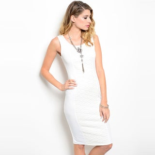 Shop The Trends Women's Sleeveless Knee Length Contrast Side Panels Bodycon Dress