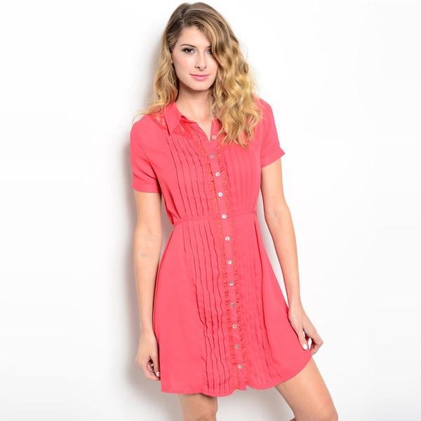 Shop The Trends Women's Short Sleeve Crochet Placket Trim Button Down Dress