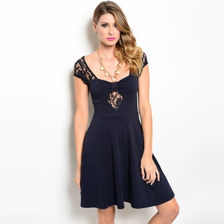 Shop The Trends Women's Cap Sleeve Lace Sleeves And Bandeau-Like Bodice Babydoll Dress