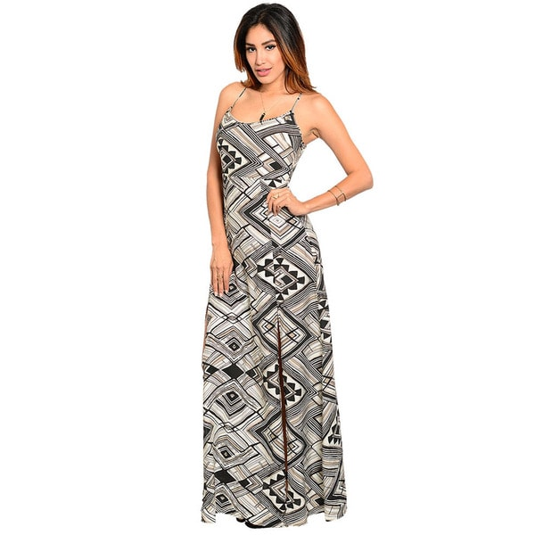 Shop The Trends Women's Spaghetti Strap Mixed Geo Theme Print A-Line Maxi Dress