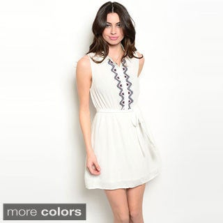 Shop The Trends Women's Sleeveless Knit Embroidered Bodice Short Dress