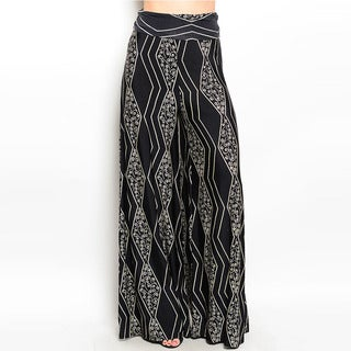 Shop The Trends Women's Abstract Pattern Wide Stretch Waist Palazzo Pants