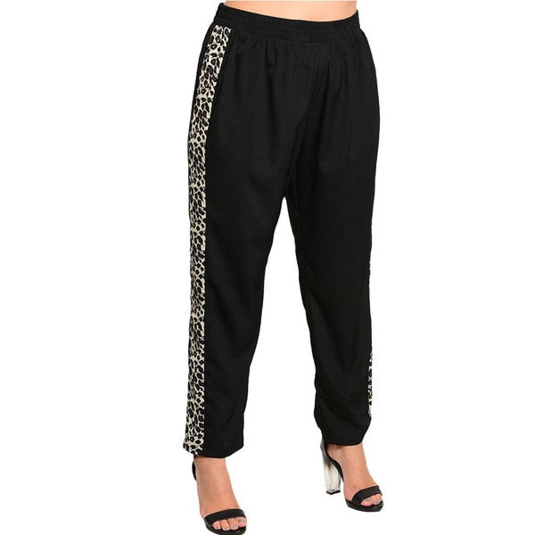 Shop The Trends Women's Plus Size Lightweight Animal Print Banded Waist Trouser Pants