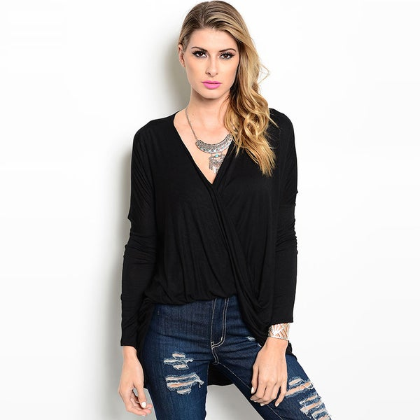 Shop The Trends Women's Long Sleeve Mock Wrap Hi-low Hem Top
