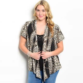 Shop The Trends Women's Plus Size Animal Print Short Sleeve Open Cardigan Top
