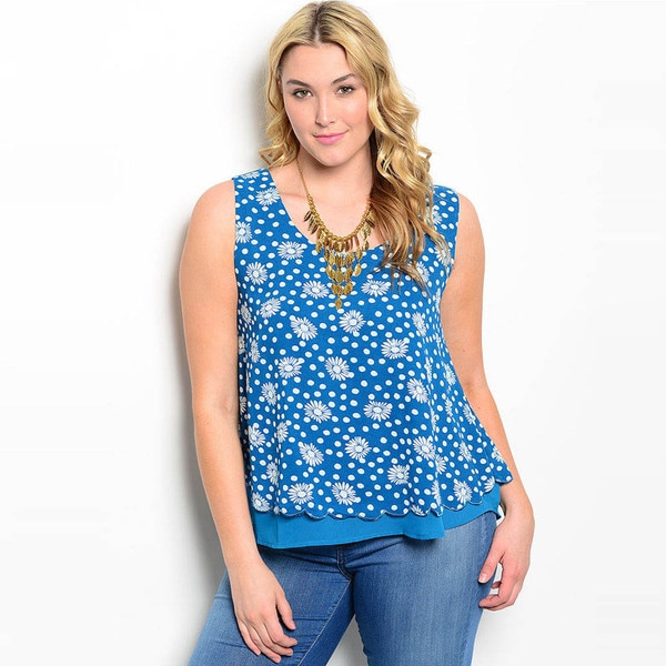 Shop The Trends Women's Plus Size Polka Dot/ Floral Print Sleeveless Shirt