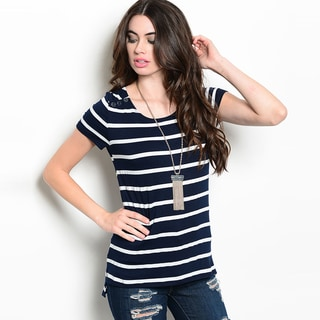 Shop The Trends Women's Short Sleeve Nautical Inspired Stripe Top