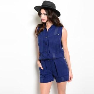 Shop The Trends Women's Sleeveless Short Snap Button Placket Elastic Waist Romper