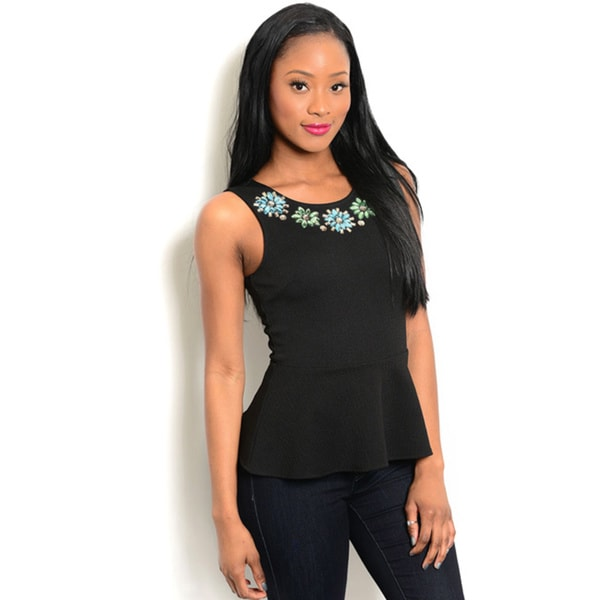 Shop The Trends Women's Sleeveless Knit Round Embellished Neck Peplum Top