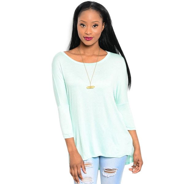 Shop The Trends Women's 3/4 Sleeve Knit Relaxed Fit Top