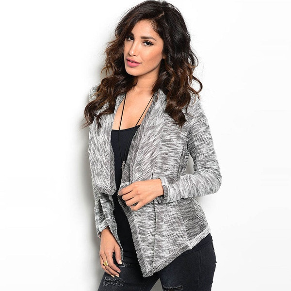 Shop The Trends Women's Long Sleeve Open Front Draped Collar Cardigan Sweater