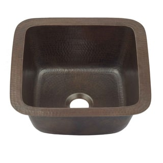 Sinkology Pollock Dual Mount Handmade Pure Copper 12-inch Copper Bar Prep Sink in Aged Copper