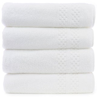 Luxury Hotel and Spa 100-percent Genuine Turkish Cotton Bath Towels Checkered (Set of 4)