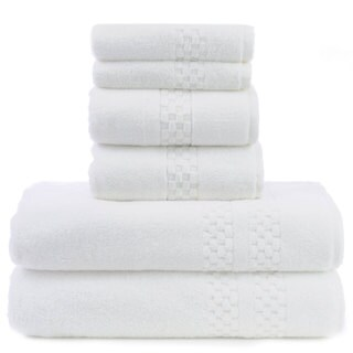 Luxury Hotel and Spa 100-percent Genuine Turkish Cotton 6-piece Checkered Towel Set