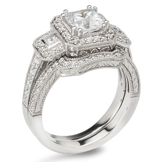 Avanti 14k White Gold 1 3/4ct TDW Certified Princess-cut Diamond 3-stone Bridal Ring Set (G-H, SI1-SI2)
