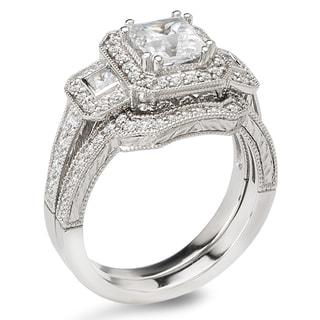 Avanti 14k White Gold 1 3/4ct TDW Certified Princess-cut Diamond 3-stone Bridal Ring Set (G-H, SI1-SI2)