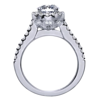 14k White Gold Cubic Zirconia 1/2ct TDW Diamond Vintage Halo Engagement Ring (H-I, I1-I2)