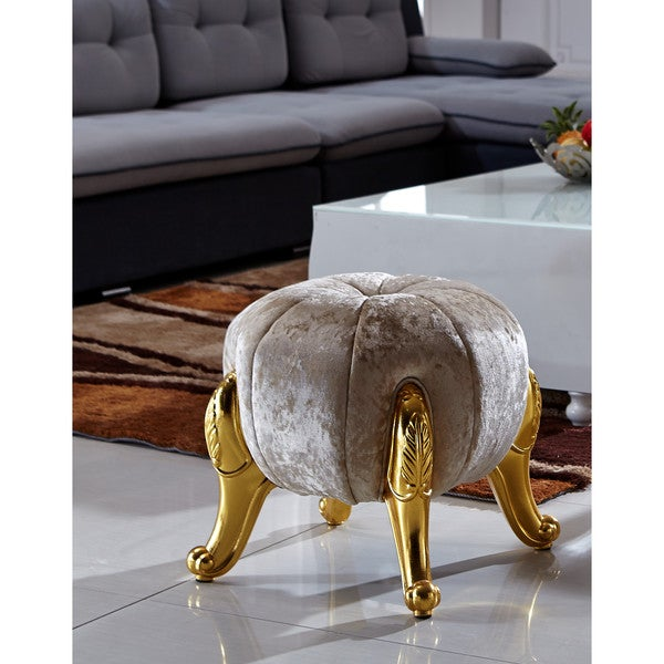 Kantoi Diamond Luxury Round Ottoman Cream