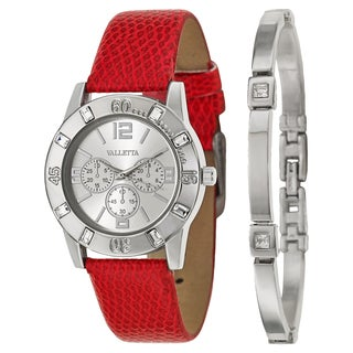 Valletta Women's 'Crystal' Stainless Steel Red Synthetic Leather Strap Quartz Watch