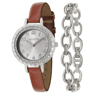 Valletta Women's 'Crystal' Stainless Steel Brown Synthetic Leather Strap Quartz Watch
