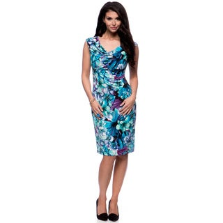 Connected Apparel Women's Floral Cowl Neck Dress