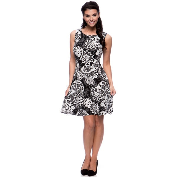 Connected Apparel Women's Floral Print Skater Dress