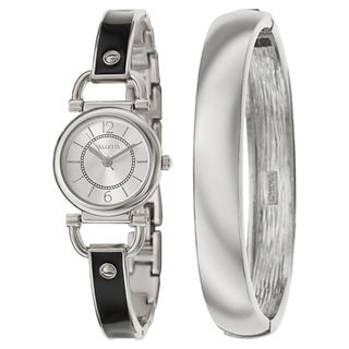 Valletta Women's 'Bracelet' Stainless Steel Quartz Silver and Black and Enamel Bracelet Watch