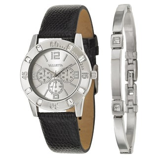 Valletta Women's 'Crystal' Stainless Steel Quartz Black Synthetic Leather Strap Watch