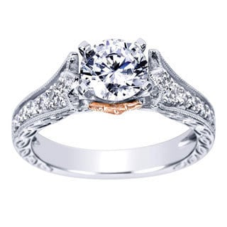 14K White and Rose Gold Cubic Zirconia Diamond Accent Cathedral Engagement Ring