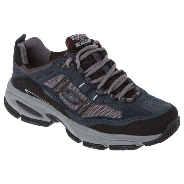 Skechers USA 51241 Suede/ Mesh Rubber Toe Cap Memory Foam Footbed Jogger Shoe
