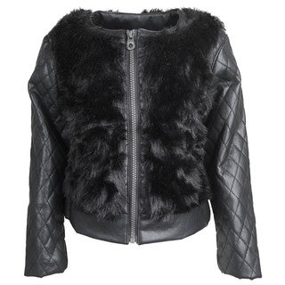Catherine Malandrino Girls' Faux Fur Leather Quilted Sleeves Moto Jacket