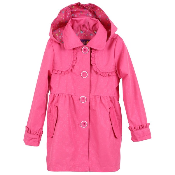 Pink Platinum Little Girls Trench Spring Jacket with Removable Hood