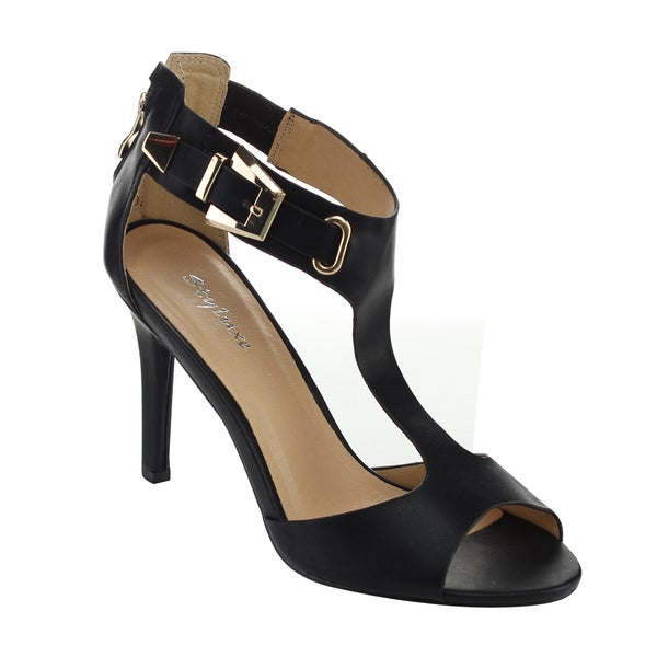 Styluxe Women's Francine T-Strap Cut-out Heels