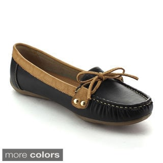Refresh Women's Touch-01 Slip-on Lace Bow Mocassin Flats