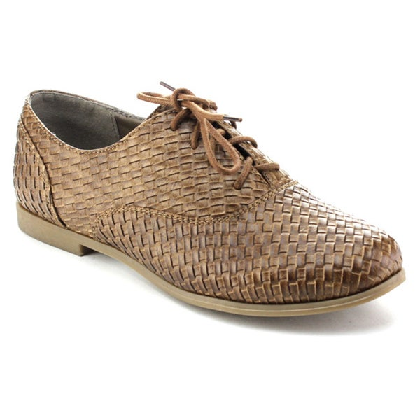 Refresh HUGO Women's Woven Lace Up Low Chunky Heel Dress Oxfords