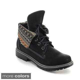 Refresh Women's Sweden-01 Lace-up Tribal Print Folded Cuff Ankle Boots
