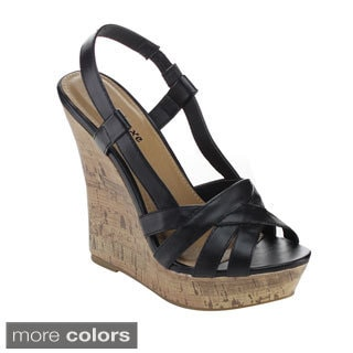 Styluxe Women's Twin-68 High Platform Slingback Wedges