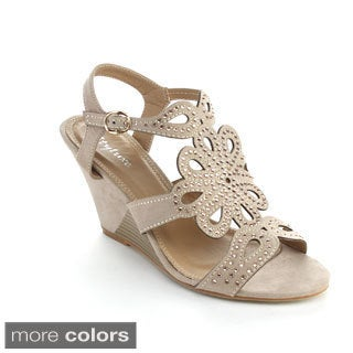 Styluxe Women's Net Metal Buckle Cut-out Wedges