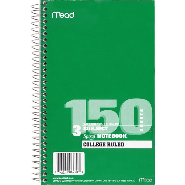 Mead White Spiral Bound Notebook (Pack of 5)